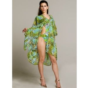 Other - GREEN LEOPARD PRINT SHORT KAFTAN